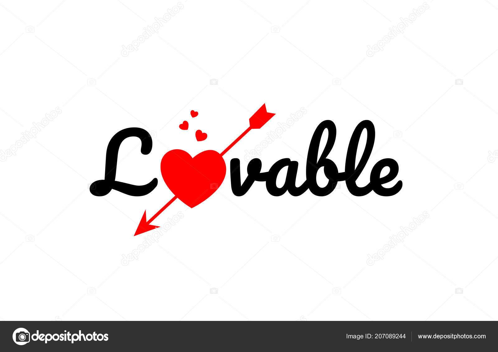da76ec1760fb Lovable Word Text Red Broken Heart Arrow Concept Suitable Logo — Stock  Vector