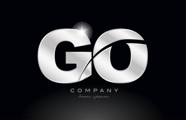 silver letter go g o metal combination alphabet logo icon design with grey color on black background suitable for a company or business