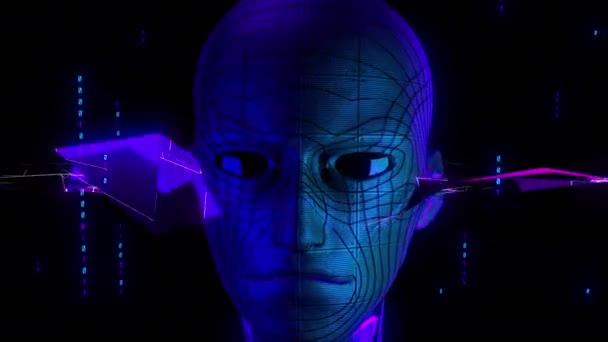 Digitální vizuální animace neonového muže. Smyčkové bezešvé abstraktní barevné záběry geometrického výbušného efektu ideální pro použití v titulech, prezentacích nebo pro použití VJ.