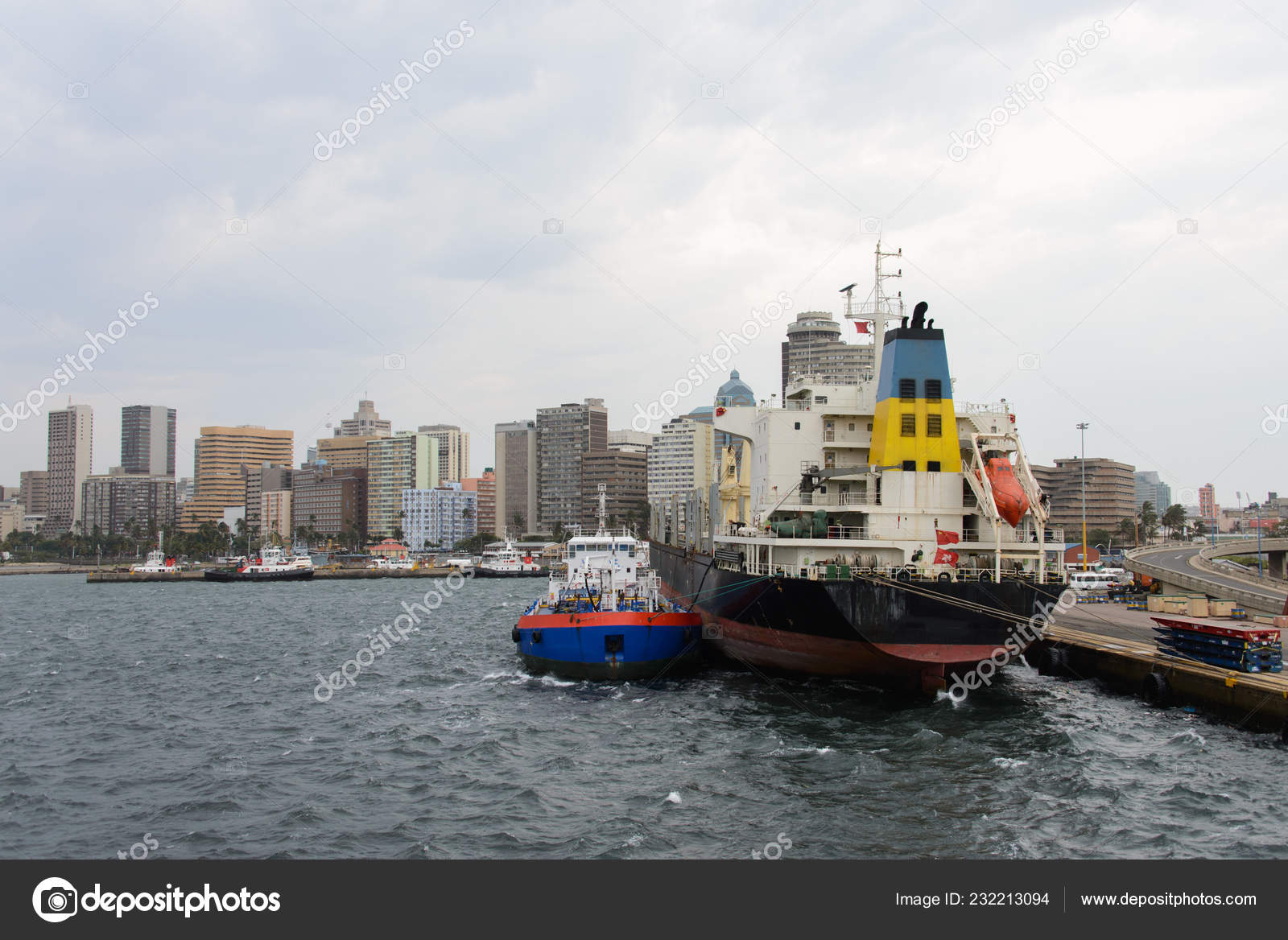 Bunker Barge Moored Big Ship — Stock Photo © Alexey_Seafarer