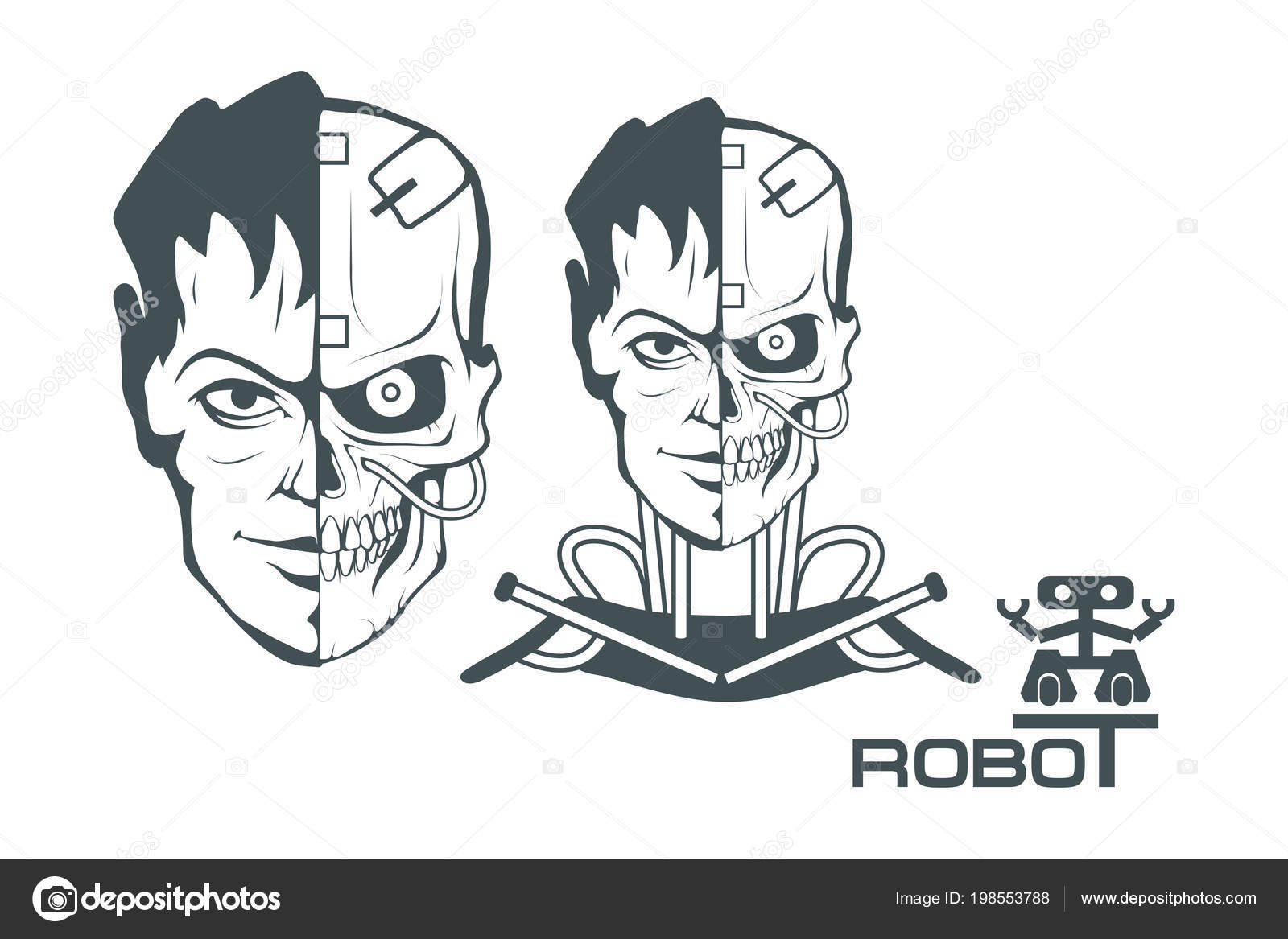 Android Set Robotic Face Robot Logo Design Robotics Vector Graphics
