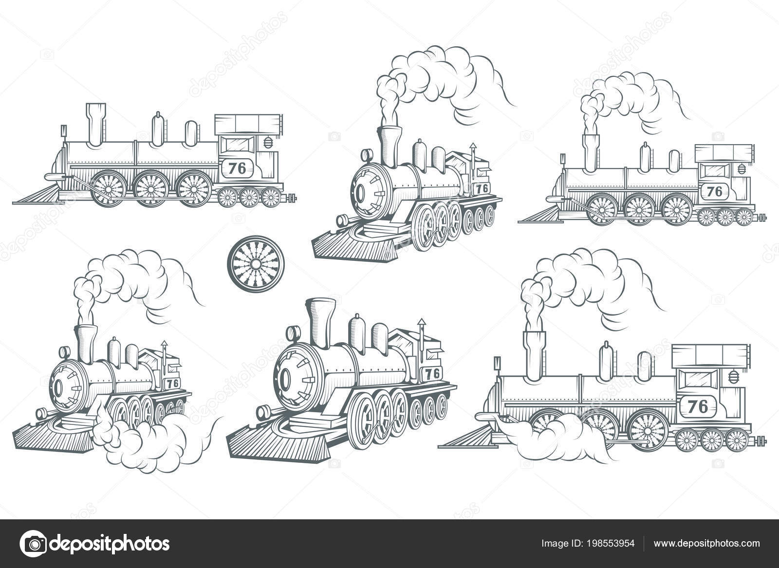 Set Different Locomotive Old Train Logo Locomotive Drawing