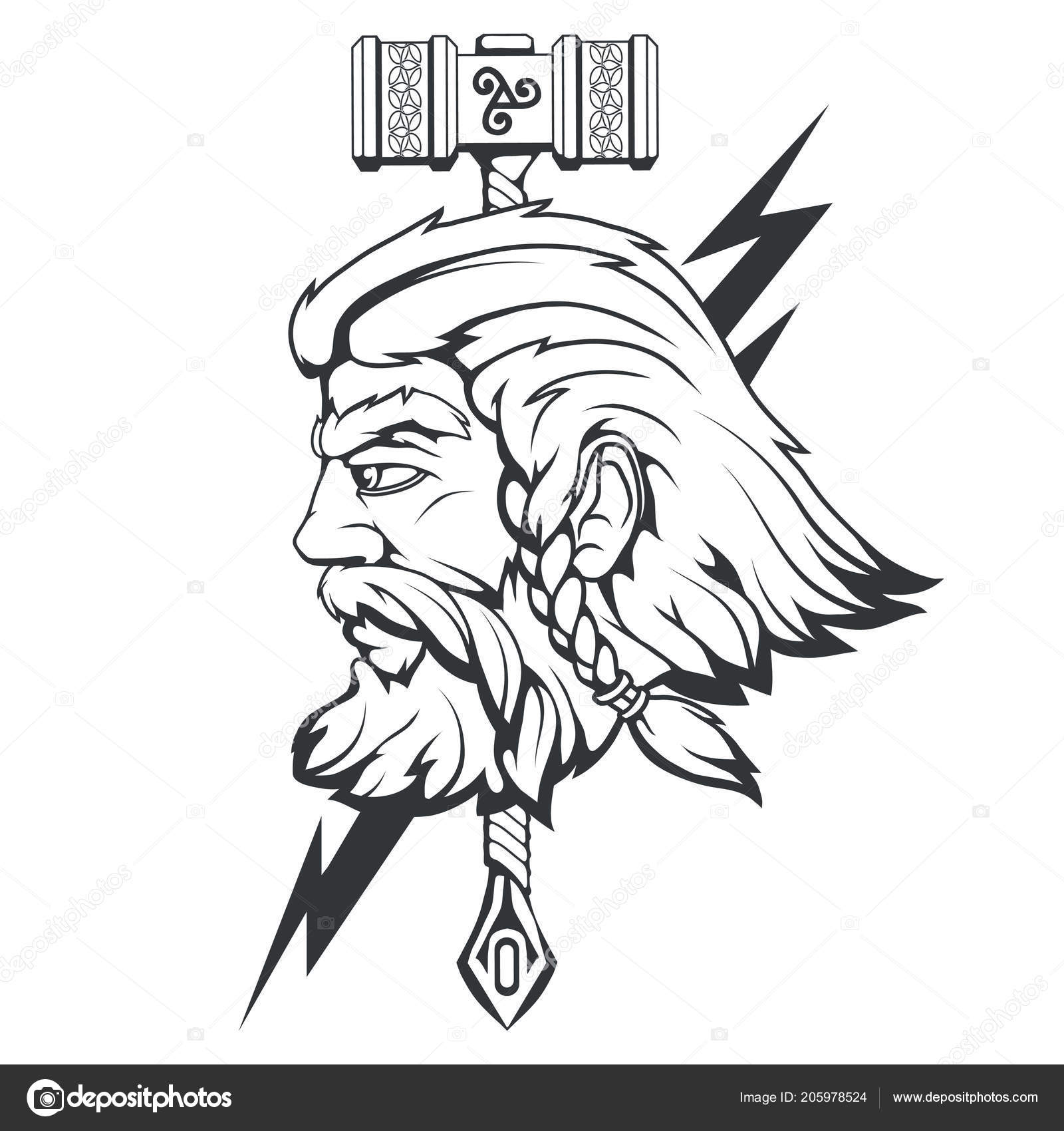 Dios Escandinavo Del Trueno Tormenta Dibujo Cabeza Thor Mano