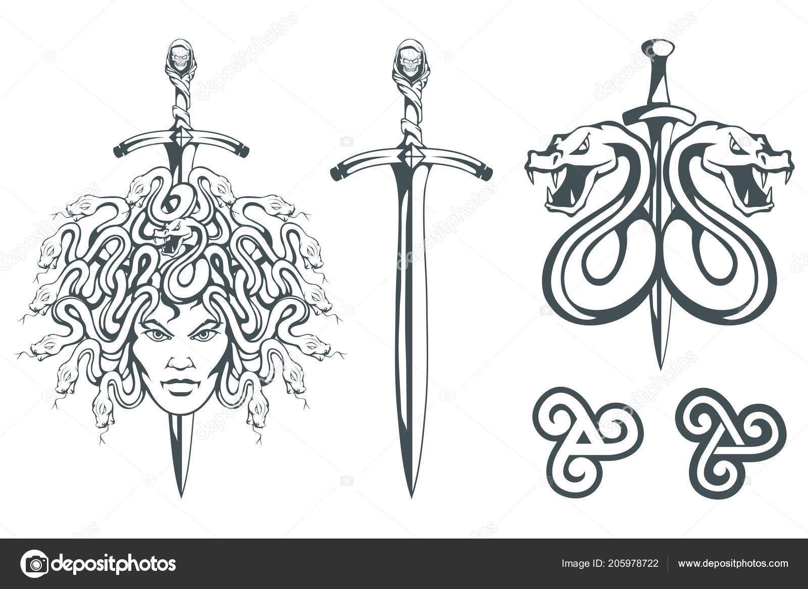 Gorgony Meduzy Potwór Twarz Kobiety Węże Zamiast Włosów