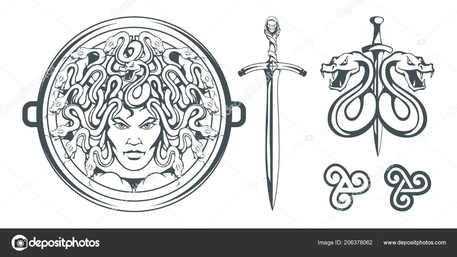 Gorgone Meduse Monstre Avec Visage Feminin Des Serpents Lieu Des