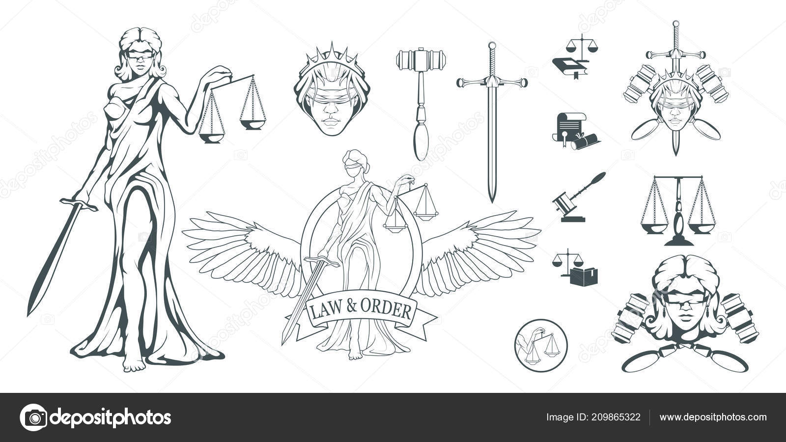 Themis Ancient Greek Goddess Justice Hand Drawn Scales Justice