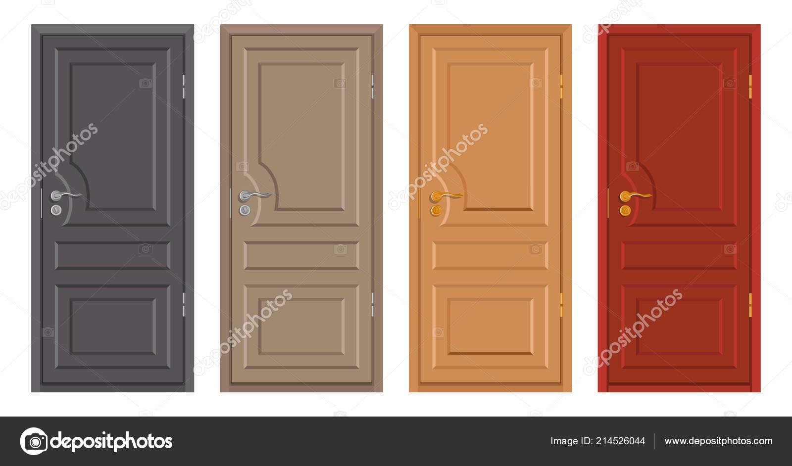 Puertas Madera Colores Aislados Sobre Fondo Blanco Puerta Madera