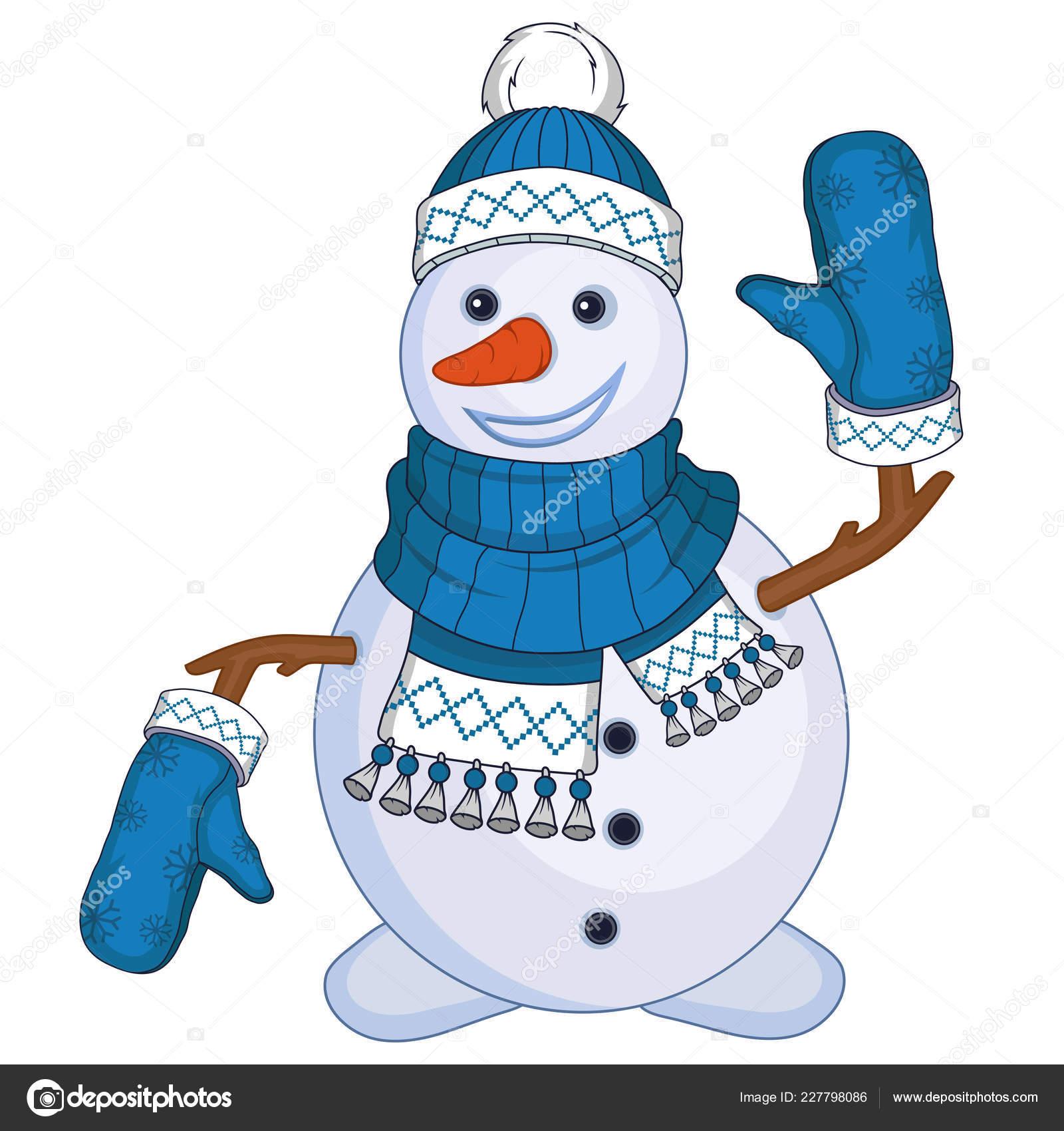 Bonhomme Neige Noël Isolé Sur Fond Blanc Vacances Nouvel