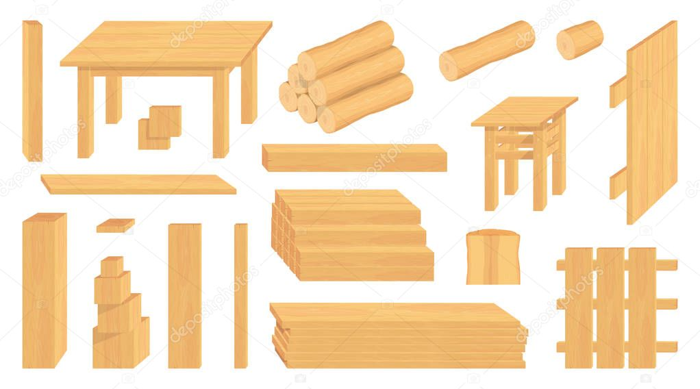 Set Of Wood Logs Trunks And Planks Different Wooden Crafts Forestry Wooden Crafts To Sell Wooden Fence Vector Graphics To Design Premium Vector In Adobe Illustrator Ai Ai Format