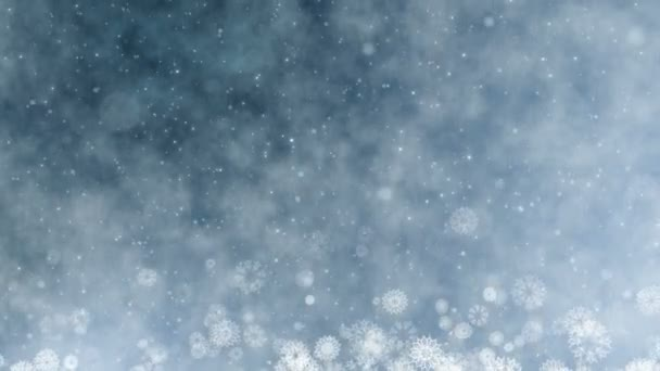 Vánoční dovolená pozdrav grafická karta. Zimní sněhové vločky, hvězdy a sněhu. Bezešvá smyčka novoroční abstraktní pozadí.