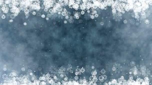 Karácsonyi keret háttér. Új év köszöntés videokártya izzó hópelyhek, a csillagok és a hó. Varrat nélküli hurok absztrakt téli háttér.
