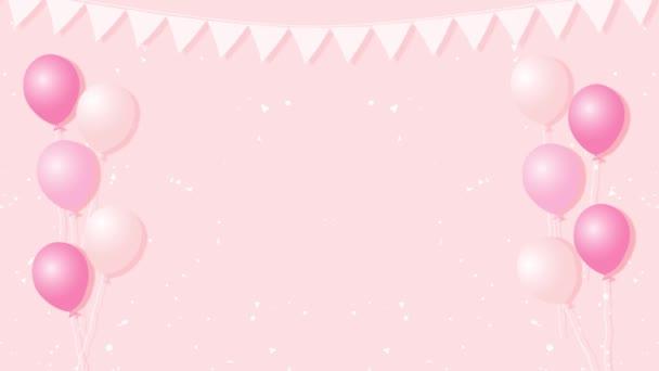 Barevné karikatura animace s vrtulovým pohonem. Dětská párty s konfety pozadím. Bezešvá smyčka 4k živý pohyb grafika.