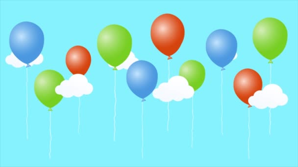 Colorful Animation Cartoon Air Balloons Clouds Happy Birthday Video Card Video By C Kurikv Stock Footage 252001934
