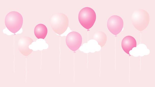 Színes animáció cartoon air léggömb-felhők. Boldog születésnapot videokártya. Varrat nélküli hurok aranyos animált háttér.