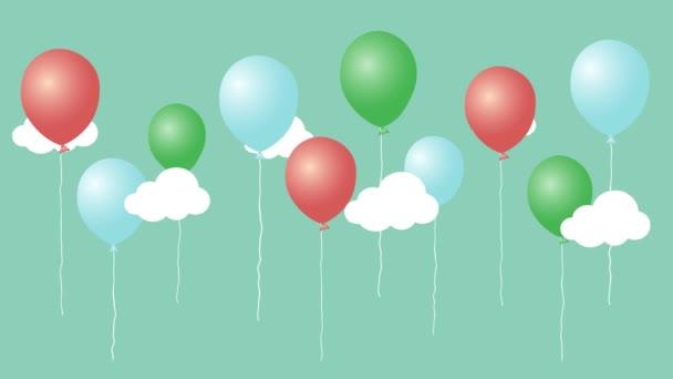 Barevné animace kreslený balónů s mraky. Všechno nejlepší k narozeninám grafická karta. Bezešvá smyčka roztomilé animované pozadí.