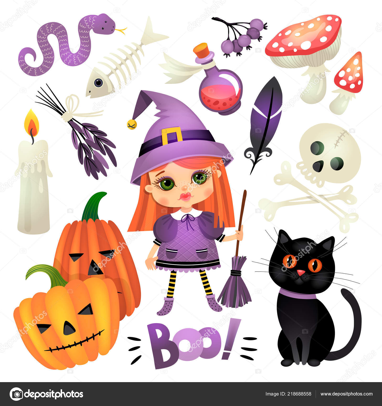 Illustration with a girl. Witch with accessories. Halloween 10