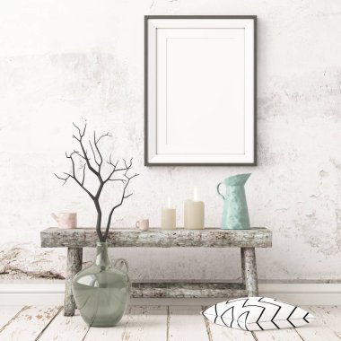 Mockup poster in the Scandinavian interior with a console table in lagom style. stock vector