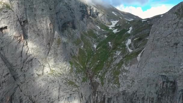 Aerial view of the mountain pass and waterfall.