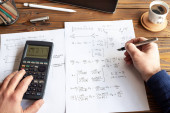 Photo Civil Engineer or University Student Making Calculations Using S