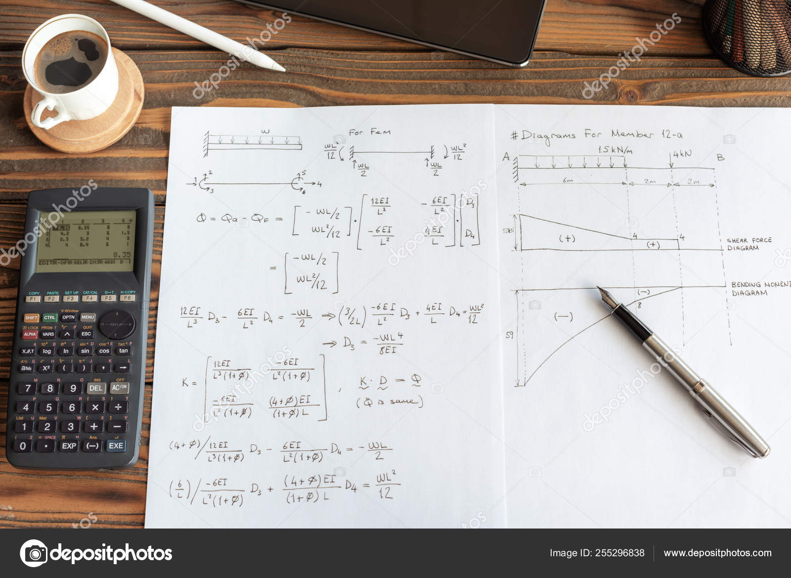 Civil Engineer or University Student Making Calculations Using S