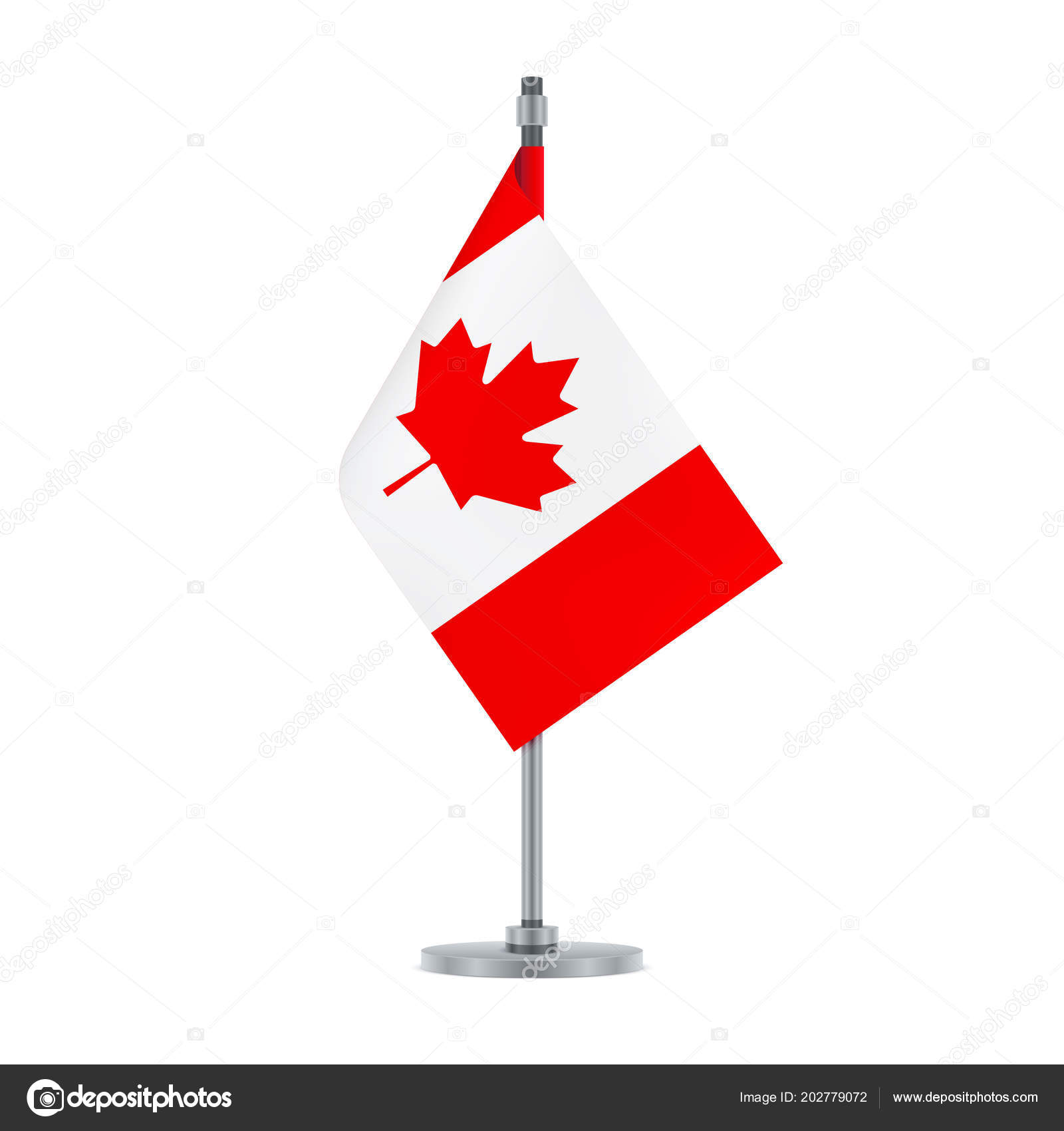 Flag Design Canadian Hanging Metallic Pole Isolated Template Your Stock Vector