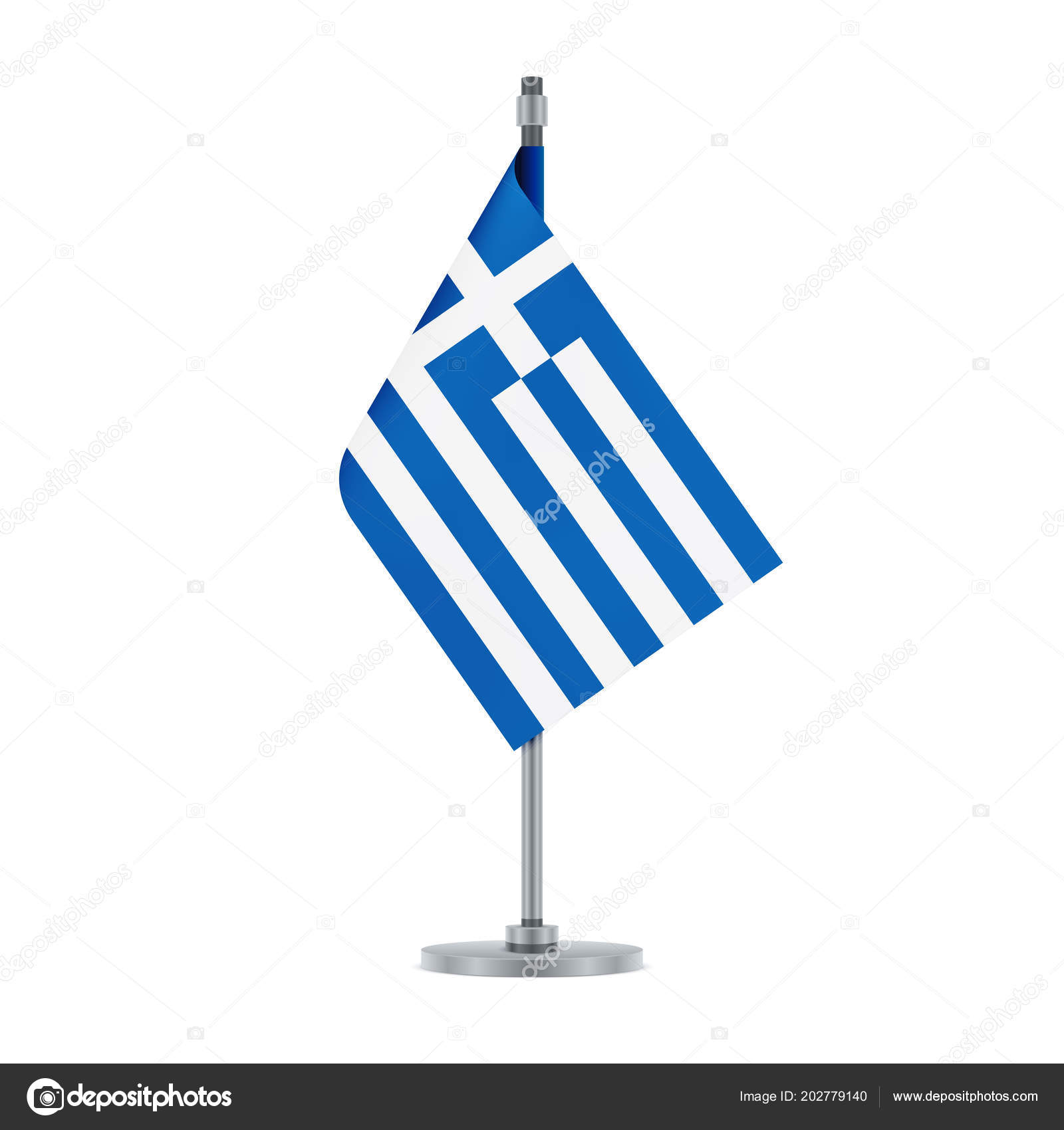 Flag Design Greek Hanging Metallic Pole Isolated Template Your