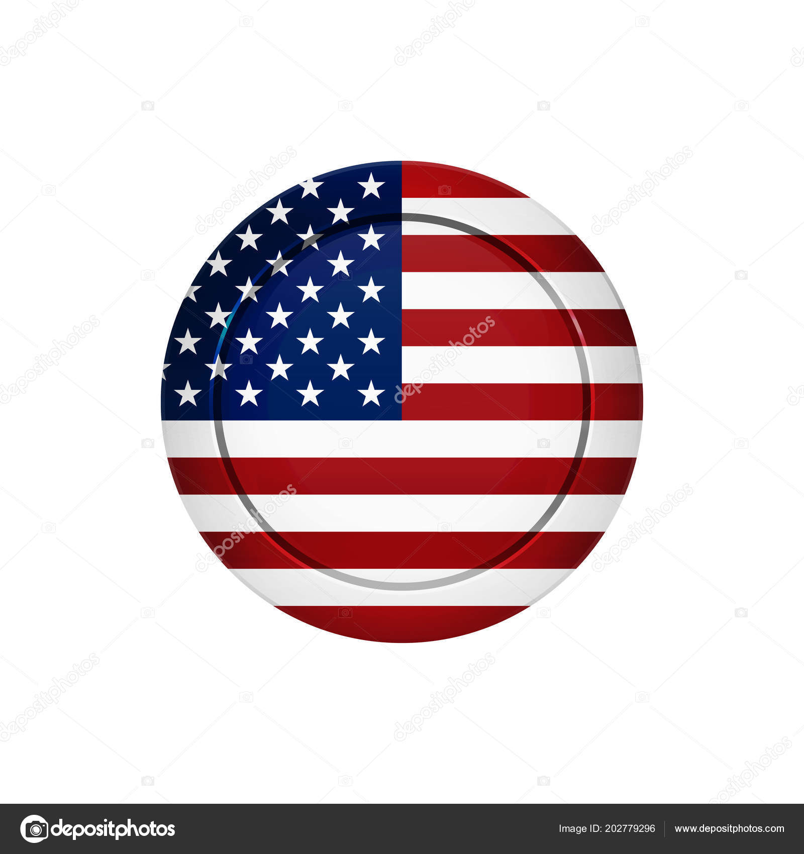 flag button design american flag button isolated template your