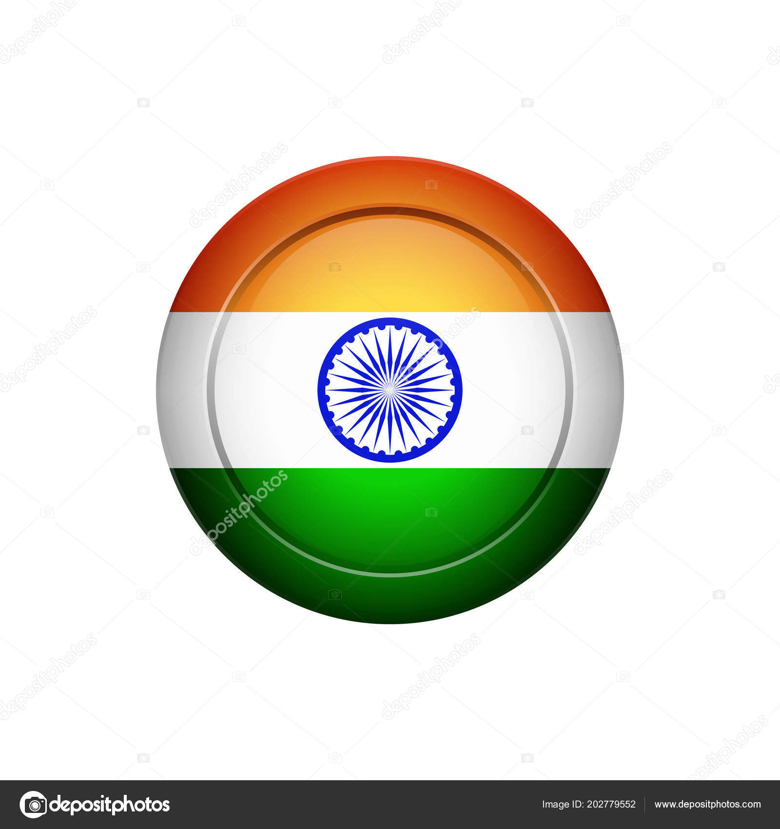 Flag Design Indian Flag Button Isolated Template Your Designs Vector ...