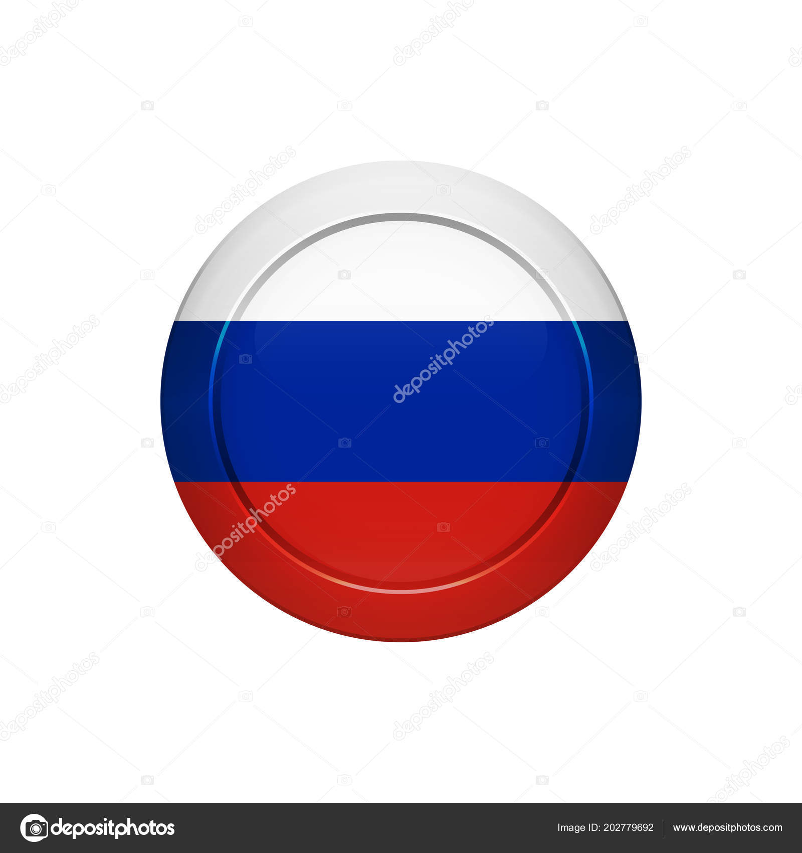 Flag Button Design Russian Flag Button Isolated Template Your