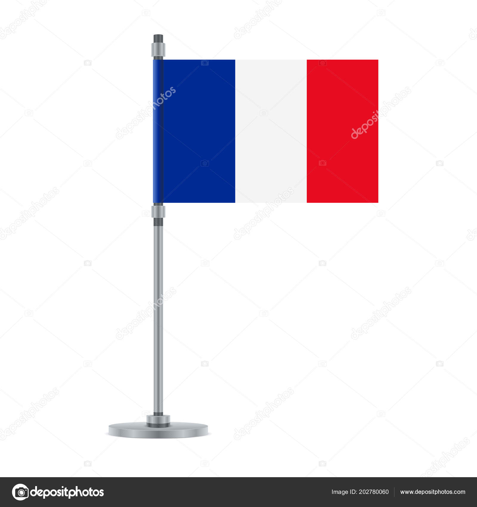 Flag Design French Flag Metallic Pole Isolated Template Your Designs ...