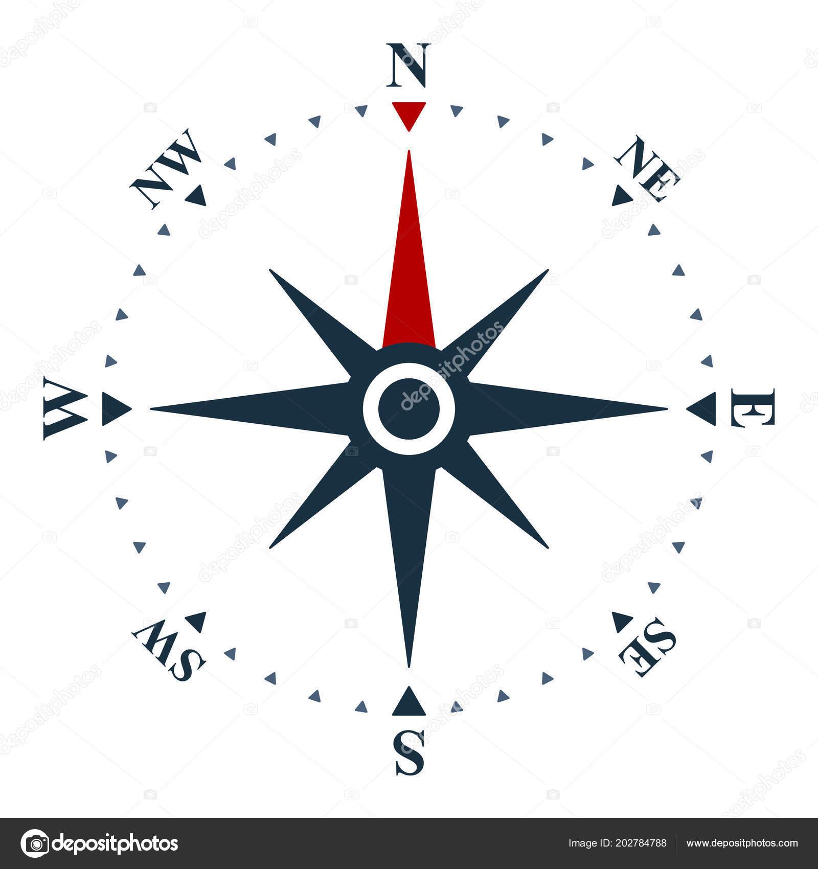 Róża Wiatrów Białym Tle Kompas Projekt Wektor Grafika