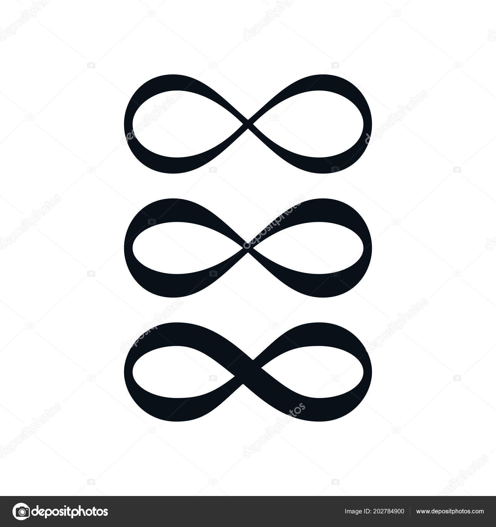 Simple Infinity Symbol Set White Background Stock Vector