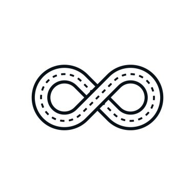 Road shaped infinity symbol on white background.