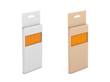 Two Pencil Set boxes in brown and white cardboard isolated on white, 3d rendering