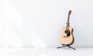 Acoustic Guitar Mockup on Stand in white empty room, 3d rendering