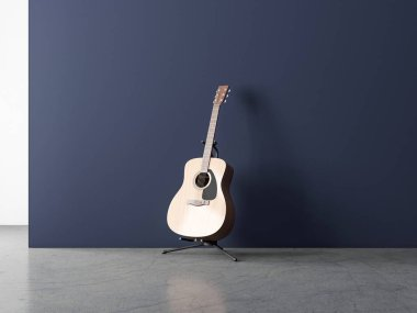 Acoustic Guitar Mockup on Stand in empty room with blue wall, 3d rendering