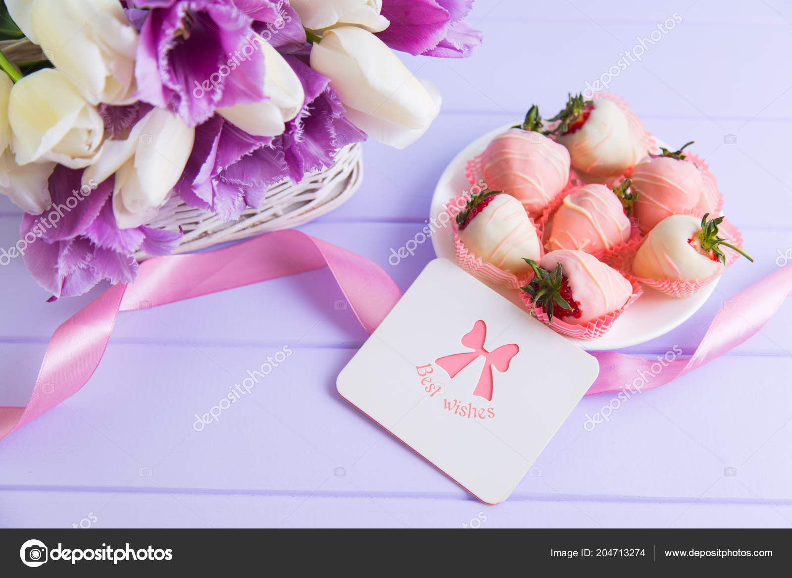 Greeting card strawberry chocolate plate pink ribbon bouquet purple greeting card strawberry chocolate plate pink ribbon bouquet purple white fotografia de stock junglespirit Choice Image