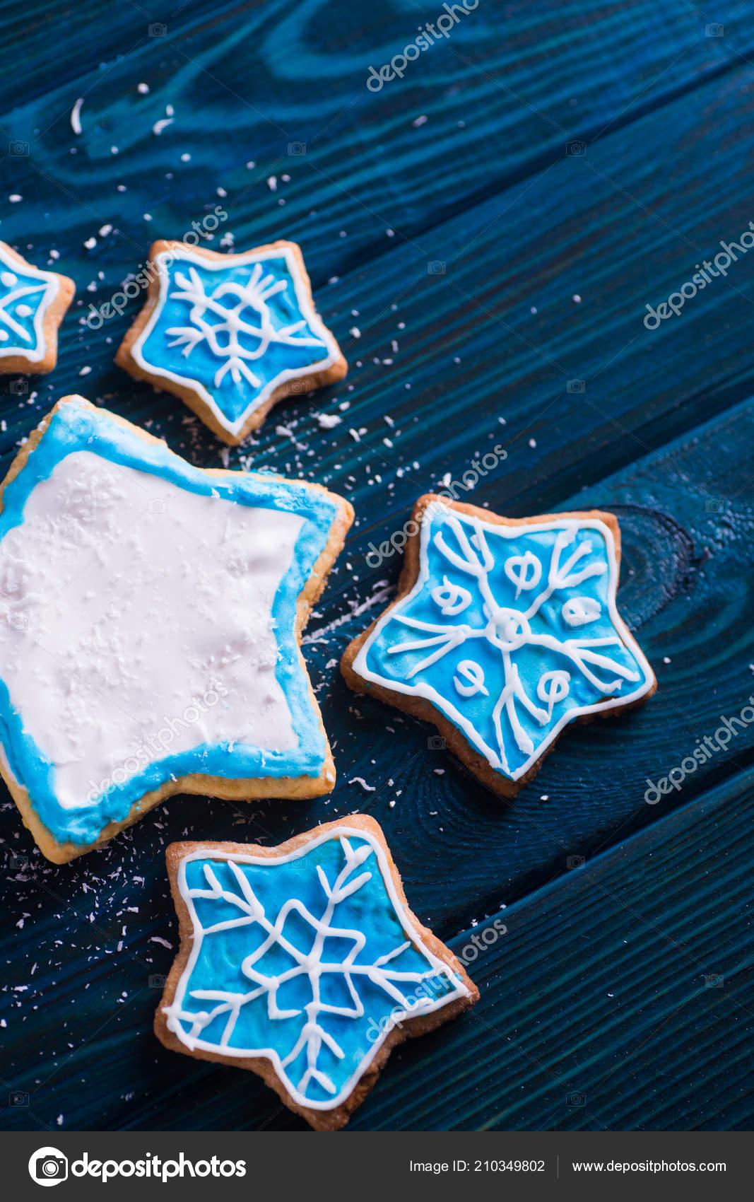 Navidad Casero Closeup Glaseado Galletas Decoradas Con Copos