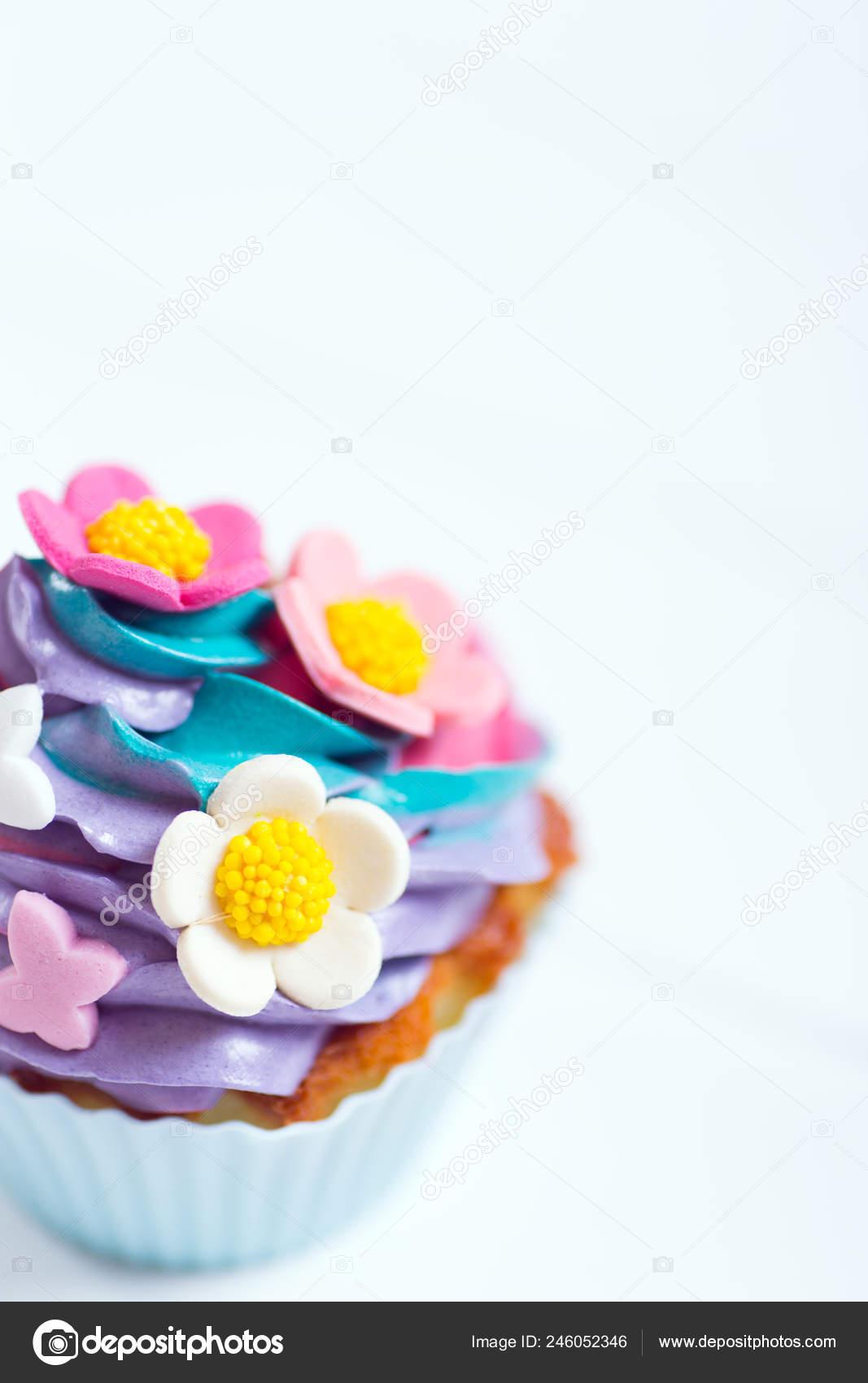 Closeup Queque Cremoso Multicolorido Topo Decorado Com