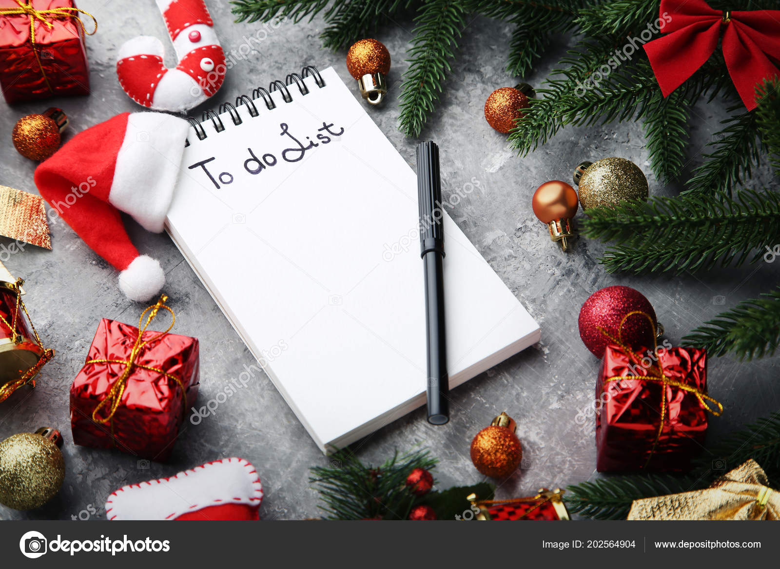 List Notepad Christmas Decorations Wooden Table — Stock Photo
