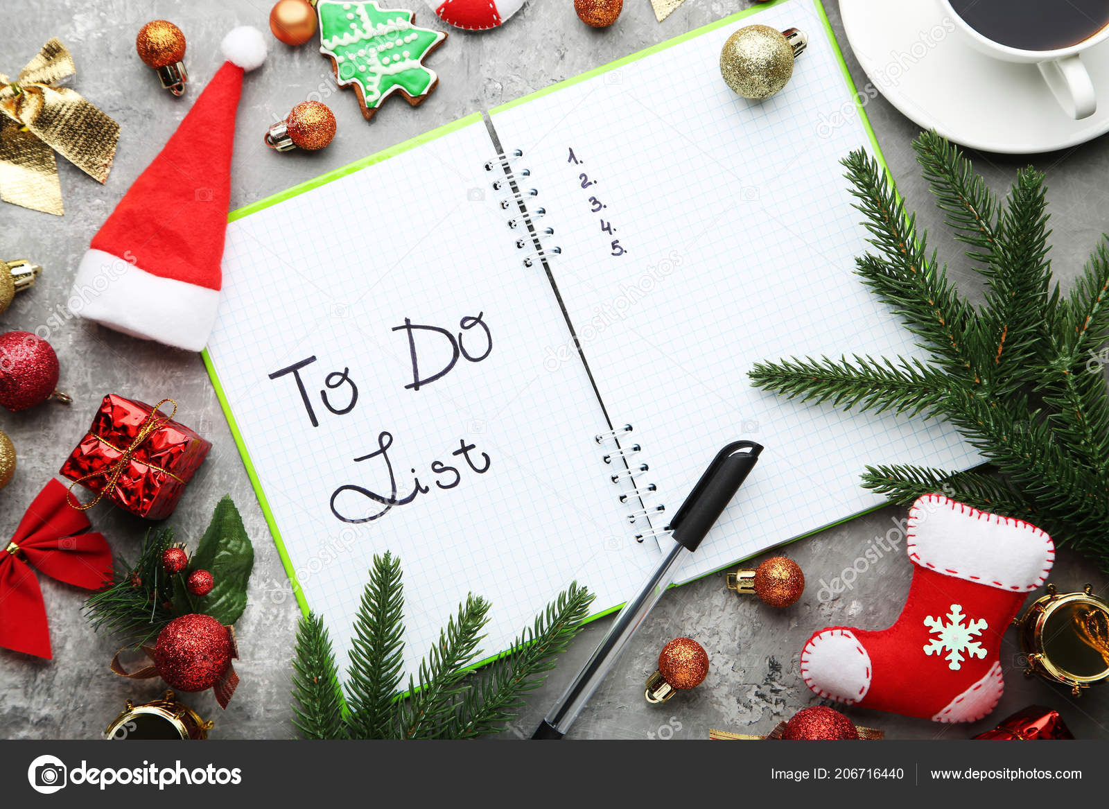 list notepad christmas decorations wooden table stock photo