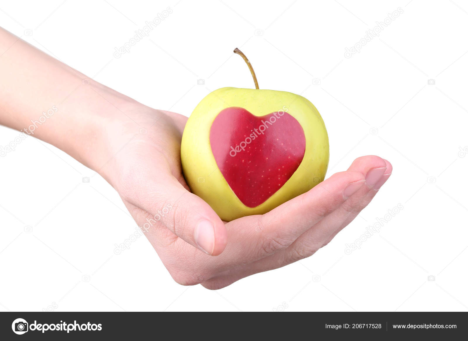 Female Hands Holding Apple Cutout Heart Shape White