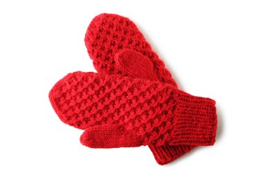 Knitted red gloves isolated on white background stock vector