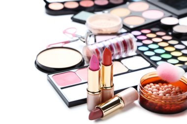 Different makeup cosmetics on white background stock vector