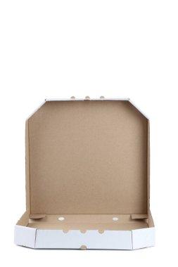 Opened pizza box isolated on white background