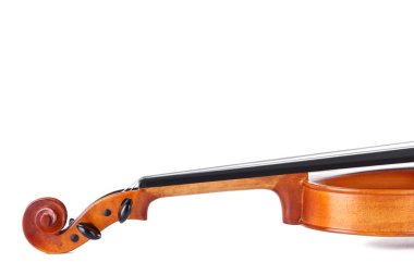close-up of violin isolated on white background