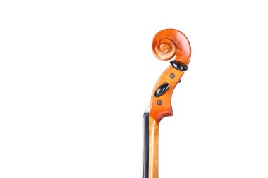 close-up of violin head on white background