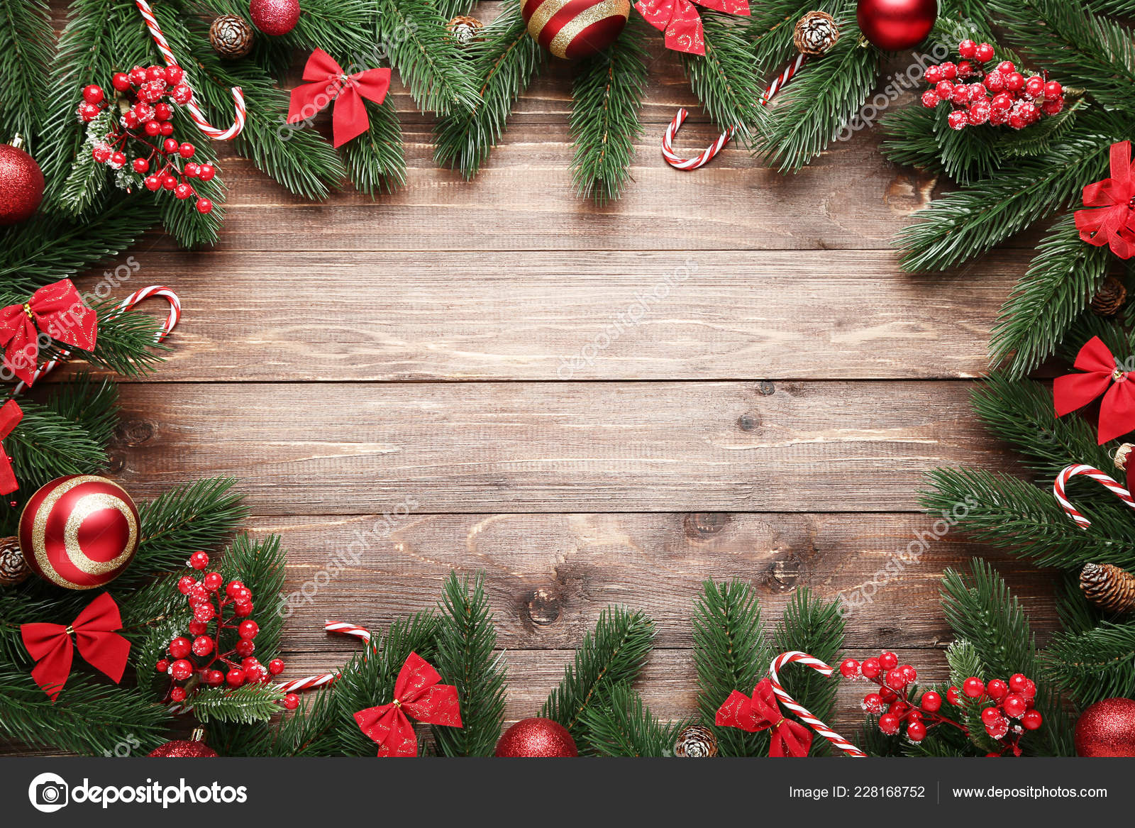 Christmas Decorations Brown Wooden Table Stock Photo C 5seconds