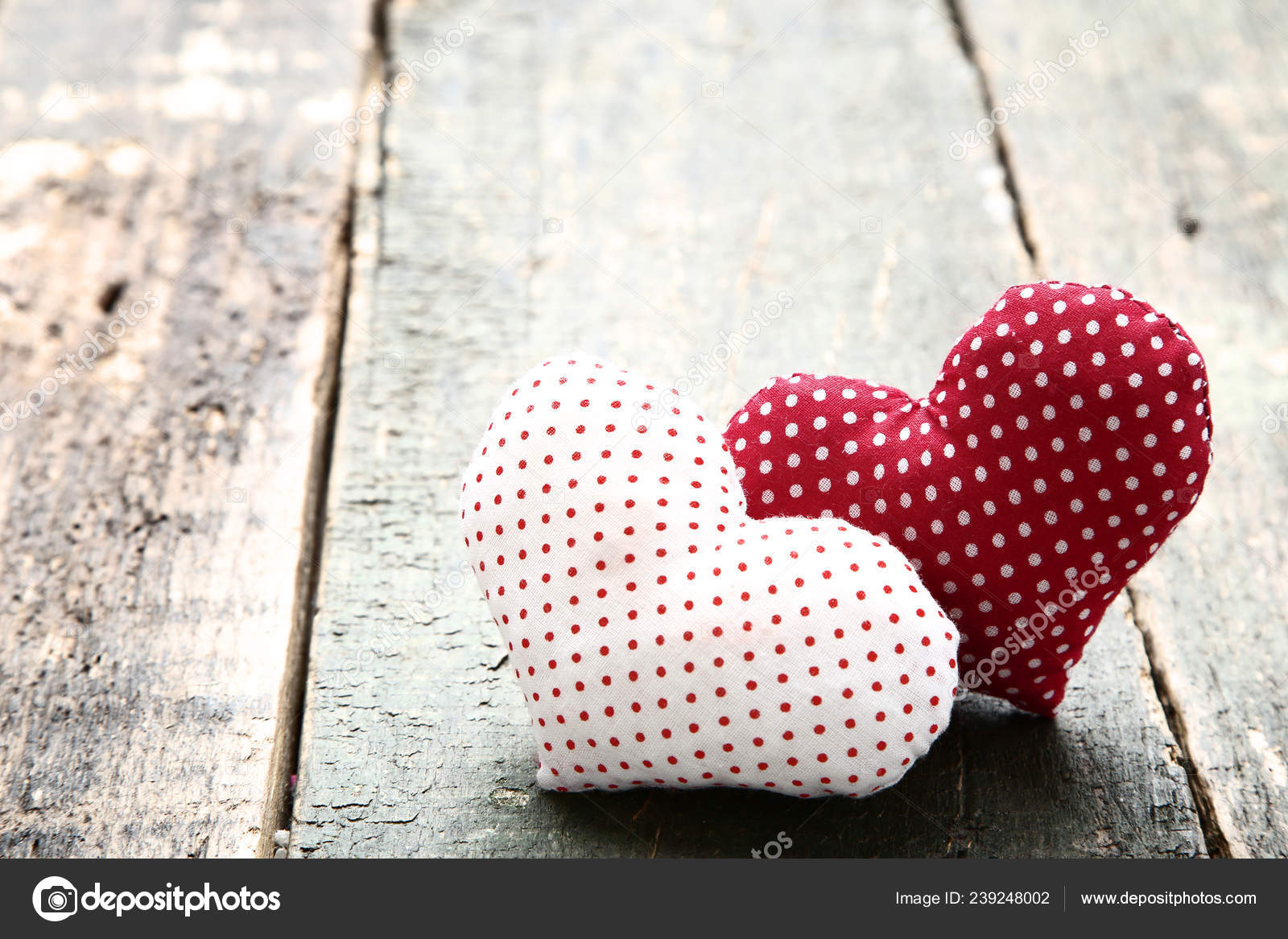 Red White Fabric Hearts Wooden Table Stock Photo C 5seconds 239248002