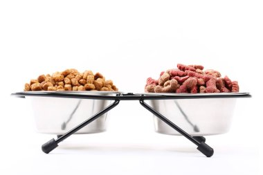 Dry pet food in bowls isolated on white background
